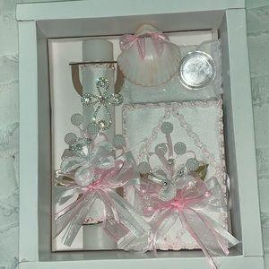 Baptism Kit: candle, Bible, rosary, shell, towel